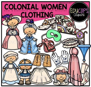 Colonial Women - Clothing Clip Art Bundle {Educlips Clipart}