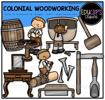 Colonial Woodworker Clip Art Bundle {Educlips Clipart}