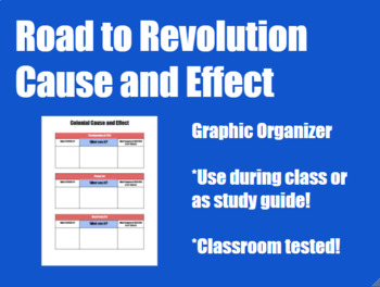 Causes of the Revolution Cause and Effect Organizer
