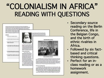 """""""Colonialism in Africa"""" reading with questions - New Imperialism - Global/World"""