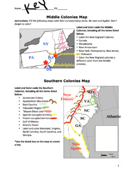 Colonies (3 Regions) Maps / Create a New England, Middle, and Southern Map!