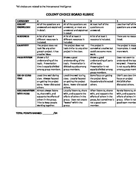 Colonies Choice Board