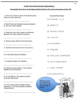 Colonies Declare Independence (35) - poem, worksheets, puzzle