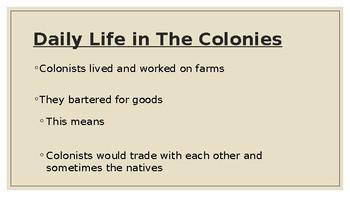 Colonies In America - Student Version
