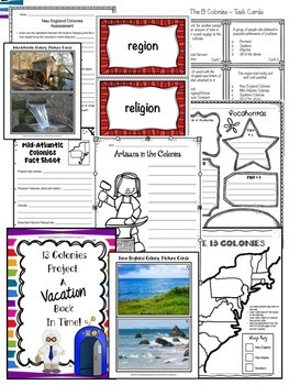 Colonies Mega Unit and Interactive Notebook BUNDLE - New England/Mid/Southern