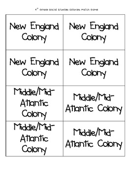 Colonies Memory Game 4th Grade