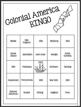13 Colonies Activity - BINGO