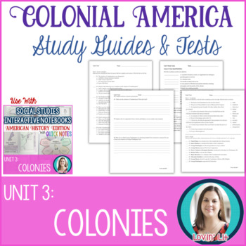 Colonies Study Guides and Tests EDITABLE