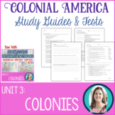 13 Colonies Study Guides and Tests EDITABLE