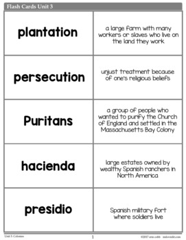 Colonies Vocabulary Posters, Flash Cards, Word Wall Cards
