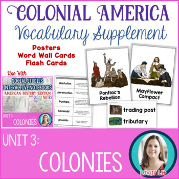 13 Colonies Vocabulary Posters, Flash Cards, Word Wall Cards