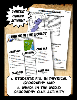 Colonies Where in the World Scavanger Hunt & Map Physical Geography