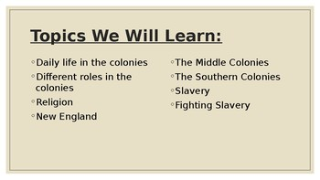 Colonies in America - Teacher Version