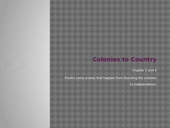 Colonies to Country note sheet