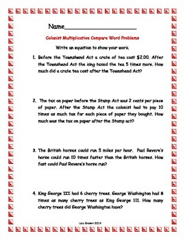 Colonist Multiplicative Compare Word Problems