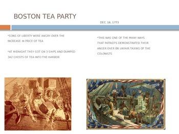 Colonist Reactions to Boston Massacre, Boston Tea Party, Intolerable Acts