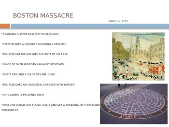 Colonist Reactions to Boston Massacre, Boston Tea Party, Intolerable Acts
