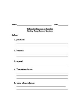Colonists' Response to Taxation- Worksheet