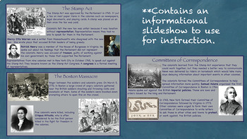 Colonists Speak Out Interactive Notebook