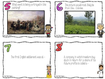 13 Colonies Task Cards for Games