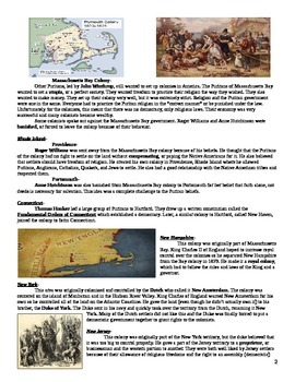 Colonization: The Founding of the 13 Colonies Reading and Questions (modified)