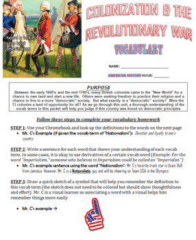 Colonization & The Revolutionary War Vocabulary
