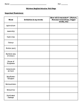 Colonization Student Activity Guide or Review