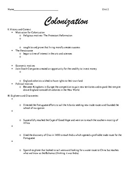 Colonization and Exploration Notes