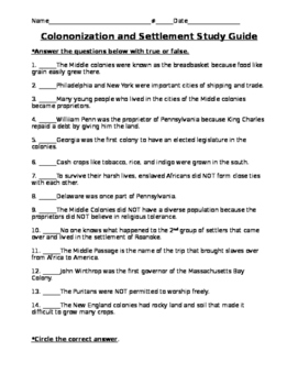 Colonization and settlement study guide