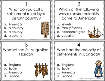 Colonization of America Task Cards (U.S. History)