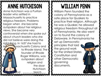 Colonization of America Informational Trading Cards (U.S. History)
