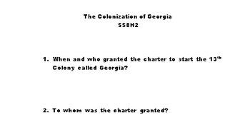 Colonization of Georgia (SS8H2:A)