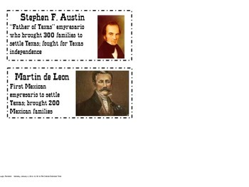 Colonization of Texas Word wall cards