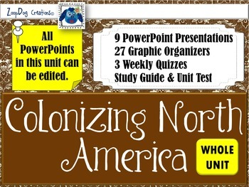 Colonizing North America UNIT PowerPoints and Graphic Organizers