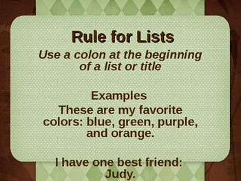 Colons: Lists and Times