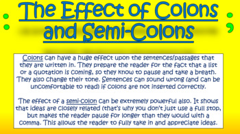 Colons and Semi-Colons!