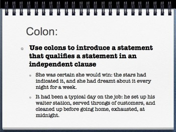 Colons and Semicolons grammar lesson