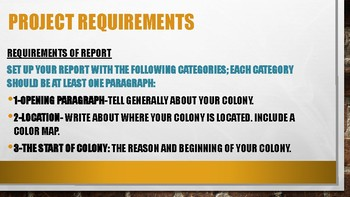 Colony Research Project with Sign Up sheet and Printable requirements