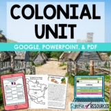 Colony Unit, Colonial America with Informational Text, Quiz, Test, Project!