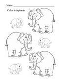 Color 6 elephants Fine Motor Skills Art Coloring Large and Small elephants 1p