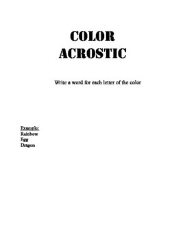 Color Acrostic