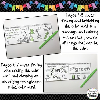 Color Activity Mini Books - Learning Colors For Pre-K and Kindergarten Students