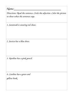 Color Adjectives Worksheet; Differentiated for Middle School Special Education