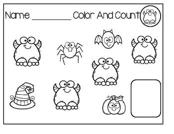 Color And Count Halloween Sheets