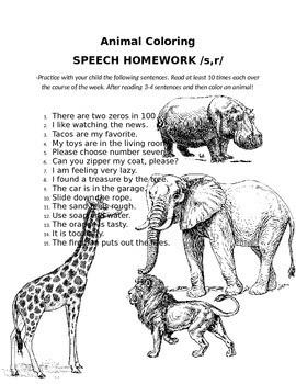 Color Animal Speech Homework - /s/ and /r/ sound