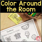 Color Around the Room! Write-the-Room activity with color words for kindergarten