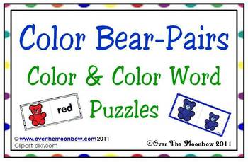 Color Bear-Pairs Color & Color Word Puzzles