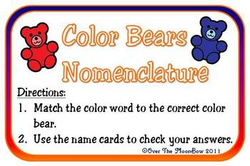 Color Bears Nomenclature 3 - Part Vocabulary Cards