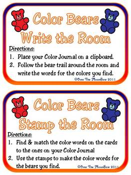 Color Bears Write / Stamp the Room Spelling Vocabulary Game