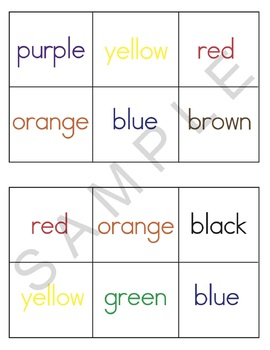 Color Bingo and Color Label Cards